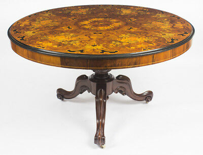 Antique Victorian Burr Walnut  Marquetry Loo Centre Table C1860