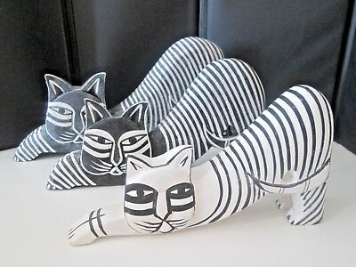 """Set of 2 Blk/1 White Wood Cats graduating sizes, up to 4 1/2"""" tall up to 9"""" wide"""