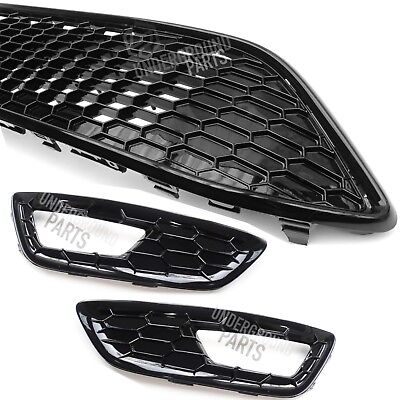 Ford Focus Mk3 St Line All Gloss Black Front Bumper Grilles Fog Light Covers