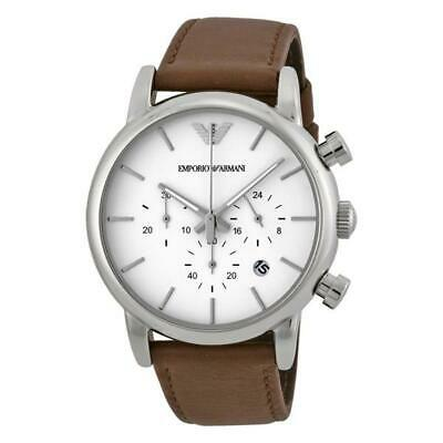 3cd5524988c Emporio Armani White Dial Brown Leather Chronograph Men s Watch AR1846