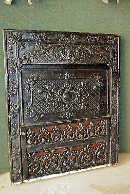 1901 Antique Ornate Cast Iron Victorian Fireplace Surround Insert Summer Cover