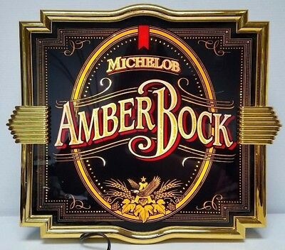 "RARE AMBER BOCK MICHELOB BEER 20"" x 18 Lighted Sign BAR GARAGE Man Cave Gold Rim"
