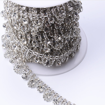 1M Rhinestone Chain Floral Trim Crystal Diamante Ribbon Sewing Accessory  Crafts ad36bc459