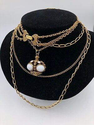 Vintage Pendant Milk Glass Gold Filled Multi Chain Necklace Goldette Great Look
