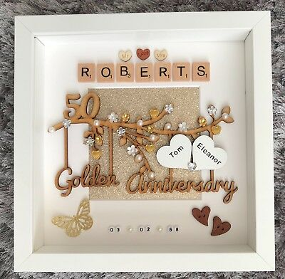 Handmade Personalised Golden 50th Wedding Anniversary Gift Frame
