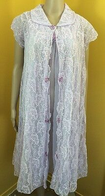 VTG Purple ROVEL Sheer Chiffon Babydoll Peignoir & Lace Robe Nightgown Set NWOT