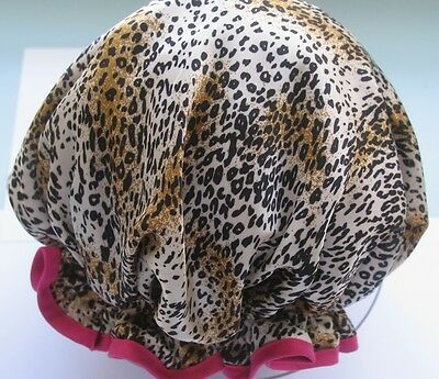 SHOWER CAP HAT  AUSTRALIA  HANDMADE, ANIMAL PRINT baby leopard HOT PINK TRIM