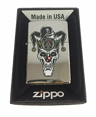 Zippo Custom Lighter Skull Jester Scary Clown Joker Ace of Spades Polish Chrome
