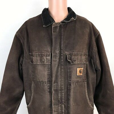 Carhartt Sandstone Traditional Work Jacket XL Brown Arctic Quilted Lined Mens