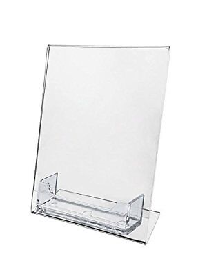 "2 Sign Holder Slant Back Display 5""x7"" w Business Card Holder Clear Acrylic AZM"