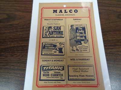 Malco Theatre Vintage Movie Ad Mcghee Arkansas San Antone / Titanic