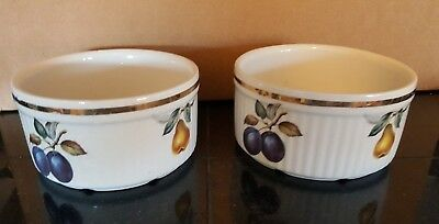 OVEN TO TABLE STAFFORDSHIRE SALEM ENGLAND PORCELAIN RAMEKIN FRUIT BOWL Set of 2