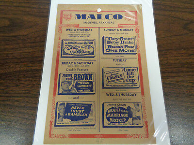 Malco Theatre Vintage Movie Ad Mcghee Arkansas Grounds For Marriage