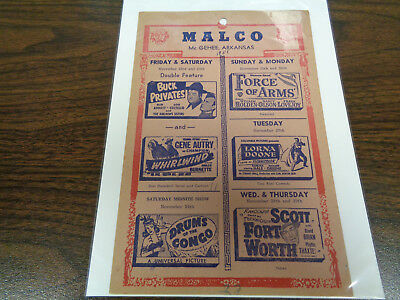 Malco Theatre Vintage Movie Ad Mcghee Arkansas Buck Privates Abbott & Costello