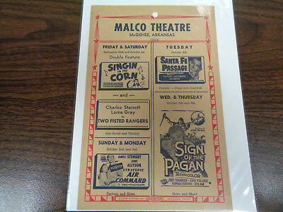 Malco Theatre Vintage Movie Ad Mcghee Arkansas Singin In The Corn