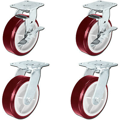 "CASTERHQ- 6""X2"" Heavy Duty Toolbox Swivel Poly. Caster Set Of 4 - Zerg Fitting"