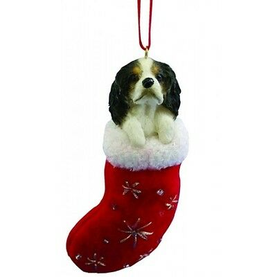 Cavalier King Charles Spaniel Tri Santa's Little Pals Dog Christmas Ornament