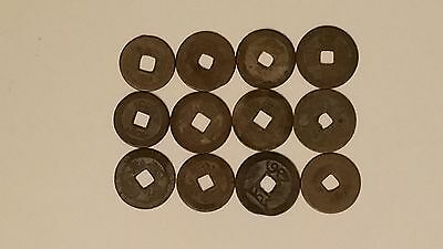 Lot of 12 1644-1911 Ching Dynasty Chinese Coins