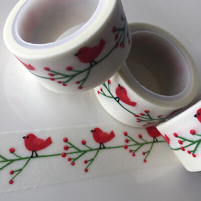 Washi Tape Wide Red Robin 20Mm X 5Mtr Scrap Planner Craft Wrap Christmas