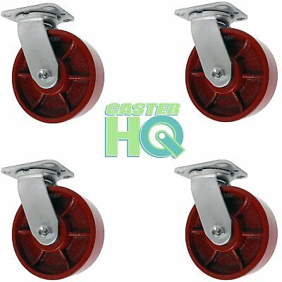"CASTERHQ- 8""x2"" Red Ductile Iron / Steel Swivel Caster Set Of 4 - Grease Zerg"