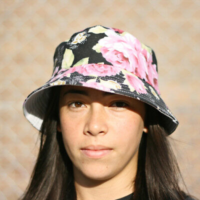 Bucket Hat - Pink Roses Black Canvas - Free Delivery Nationwide.