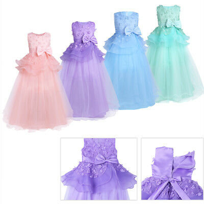 Kids Lace Flower Girl Princess Dress Party Pageant Bridesmaid Wedding Ball Gown