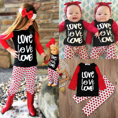 Kids Baby Girl Clothes Outfits Love T-shirt Tops Pants Leggings Clothes Set 2Pcs