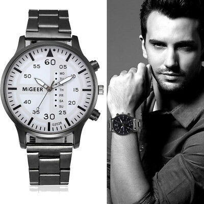 Fashion Luxury Mens Watch Stainless Steel Band Quartz Bracelet Wrist Watch Cheap