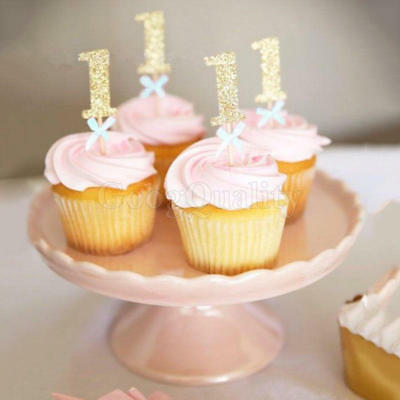 12PCS GOLD 1st birthday number cupcake topper Baby Party Decoration