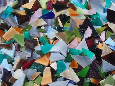 """100g - MIXED MULTI-COLOURED"" Stained/Opal Glass for MOSAIC & Glass Crafts"
