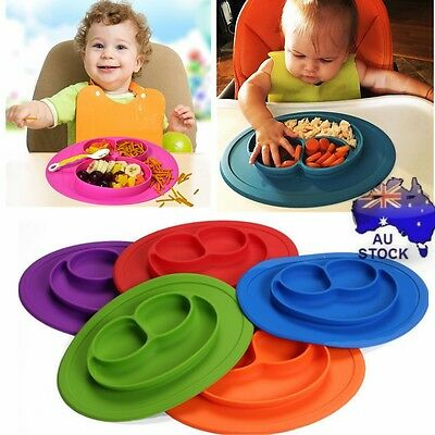 Cute Bowl Silicone Mat Baby Kids Child Suction Table Food Tray Placemat Plate AU