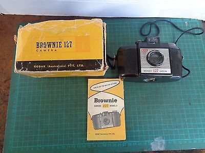 Vintage Kodak Brownie 127 camera, box and instructions, Bakelite case