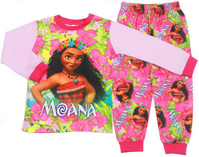 New Size 2-7 Kids Girls  Winter Slim Pyjamas Disney Moana Sleepwear Pjs Nighties