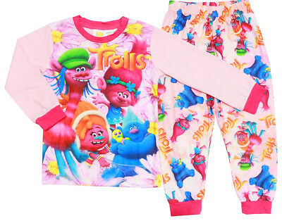 New Size 2-7 Kids Pyjamas Winter Slim Trolls Girls Sleepwear Shirt Pj Pjs Tee