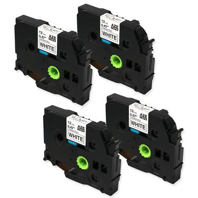 4PK Compatible for Brother TZ-231 Black on White P-Touch Label Tape TZe231 12mm