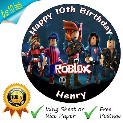 Roblox Cake Topper Personalised Round Edible Birthday Cake