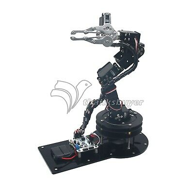 Aluminium 6 DOF Robotic Arm Clamp Claw&Servos&32CH Controller Full Set Black