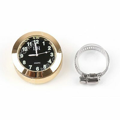 "Universal 7/8"" to 1"" Motorcycle Handlebar Bar Mount Clock Watch Cruiser Gold AU"