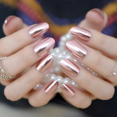 Oval Metal Mirror False Nails Champagne Pink Fake Nail Short Size Acrylic Nail