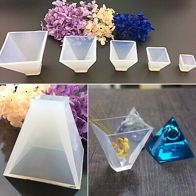 4 Pcs 4 Sizes Pyramid Silicone Mould DIY Resin Craft Crystal Jewelry Making Mold