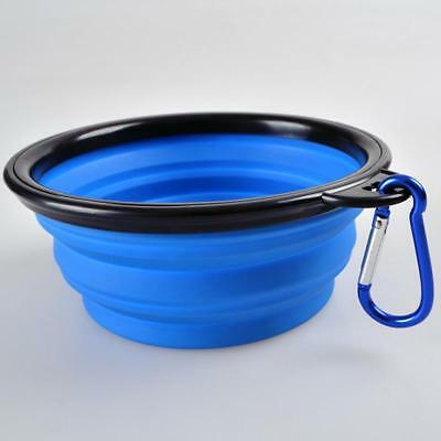 Outdoor Folding Silicone Pet Cat Feeding Water Food Bowl with Carabiner