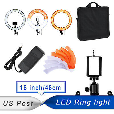 """PHOTO MASTER 18"""" 42W LED Ring Light Video Film Live Continuous Dimmer Stand Kit"""