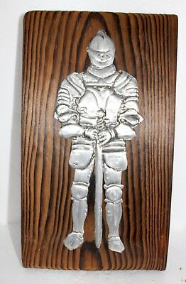 Vintage Spanish Wall Plague Wooden and Putter Knight in Full Armor