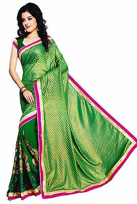 Green Wedding Bridal Bollywood Chiffon Sari Saree Belly Dance Fabric