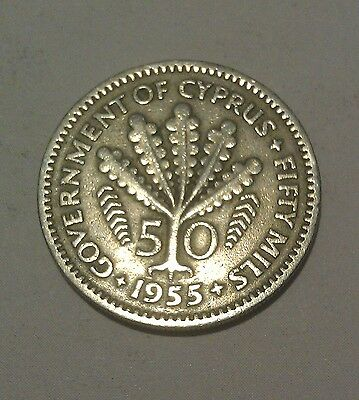Government of Cyprus 1955 50 Mils coin - a 1-Year type