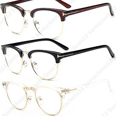 Clubmaster Semi Rimless Clear Lens  Fashion Glasses Womens Mens