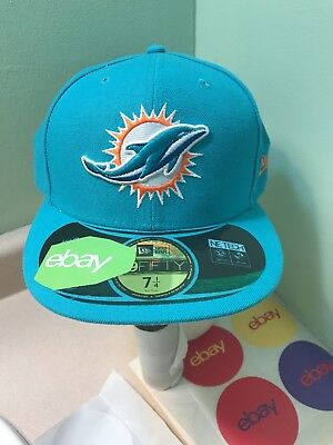 Nfl New Era 59Fifty Throwback Miami Dolphins On Field Fitted Cap Size 7 1 4 b9704b17b