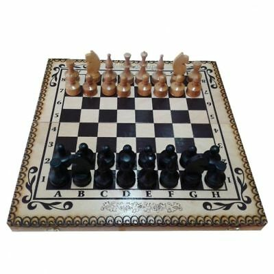 2 in1 Hand Made Wooden Chess set Backgammon Carved Pyrography Design 48/48 cm.