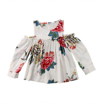 Summer Baby Kid Girl Summer Floral OffShoulder T-shirt Top Dress Clothes Outfits