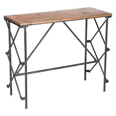 """36"""" Industrial Steel and Wood Console Table - Antique Black & Brown - ZM Home"""